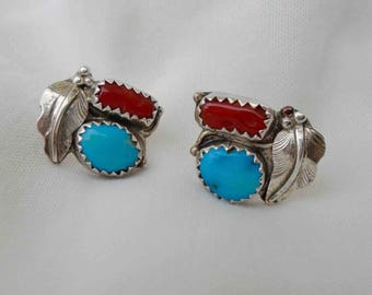 Vintage Seventies Sterling Silver Turquoise and Coral Native American Stud Earrings with Leaf Detail / Southwestern Old Pawn