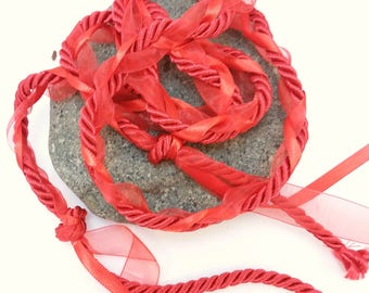 Wedding Handfasting Cord -  Red Twisted SIMPLE No BEADS