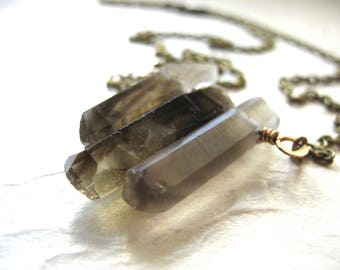 Smoky Quartz Crystal Necklace, Smoky Quartz Crystal Point Necklace, Pendant Necklace, Gemstone Jewelry, Smoky Quartz Jewelry