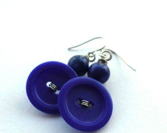 Christmas in July Sale Navy Blue Earrings - Repurposed Vintage Button Jewelry