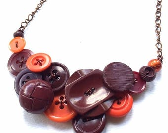 Christmas in July Sale Orange and Brown Vintage Button Necklace - Recycled Upcycled Repurposed