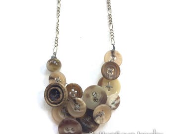 Vintage Button Necklace Tan Swirl Texture