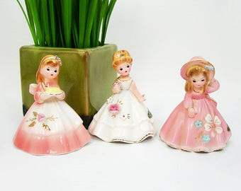 Josef Originals Girl Figurine Bells - All 3 Included - Dinner Belle, Wedding Belle, Southern Belle - Vintage 1960s Collectible Belle Series