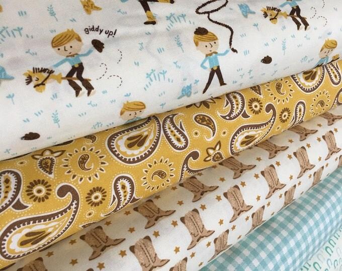 Rustic Decor Fabric, Cowboy Fabric, Western Nursery Decor, Howdy fabric by Moda, Boy Nursery,  Bundle of 5- Choose the Cuts