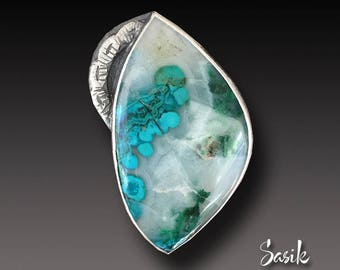 Chrysocolla  Ring Chrysocolla in Quartz size 7.75 one of a kind ring
