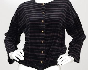 Sonia Rykiel Women's Designer Velour Striped Drawstring Cardigan Sweater Top