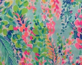 "multi catch the wave poplin cotton fabric square 18""x18"" ~ lilly spring 2018 ~ lilly pulitzer"