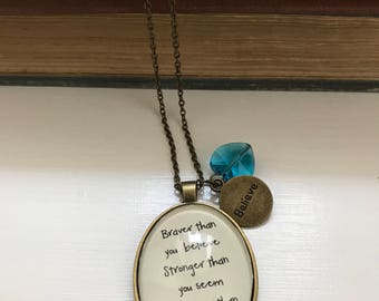 Winnie the Pooh inspired necklace Braver than you think
