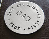 Personalized Hand Stamped Golf Marker - Hand Stamped Token - Custom Sterling Silver Golf Marker - Perfect Gift for First Father's day