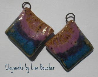 m  Fire Opal, Orchid and Blue Stoneware Earring Components