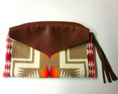 Wool Zippered Pouch Clutch Bag Accessory Purse Organizer Cosmetic Bag Fringed Leather Zipper Pull