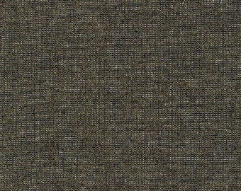 Robert Kaufman Fabric, Essex Yarn Dyed Metallic, E105-1019 Black, 50% Linen, #184