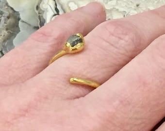 Dara Ettinger Tiny Polished Labradorite Single Stone Adjustable Ring in Gold