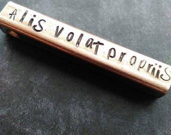 Handstamped Bar Pendant - Copper - Aluminium - Coordinates Necklace - Custom Wording - Wedding gift - Four Sided Pendant - Personalised gift