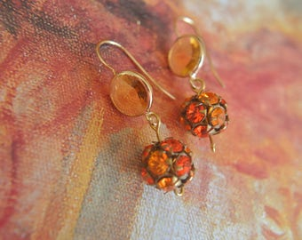 Dangle earings, vintage Swarovski ball beads in yellow and orange crystals, new glass earings hooks beads