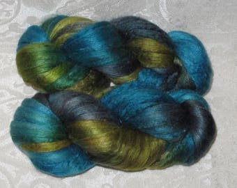 Handpainted Roving -- Silk and Merino Wool