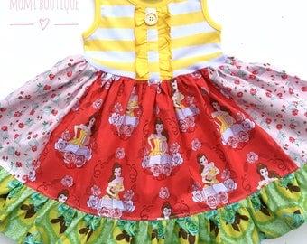 Belle dress Beauty and the Beast Disney Princess dress Disney on Ice Momi boutique