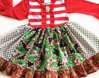 Rudolph dress Clarice dress Rudolph the Red Nosed Reindeer dress Momi boutique girls disney dress