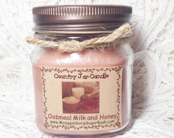 Jar Candle, Oatmeal milk honey, half pint, scented candle, teacher gift, housewarming gift, Mother's day gift, Moeggenborg Sugar Bush