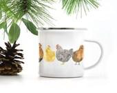 Chickens Camp Mug / Camp Mug / Chicken Mug / Farm Mug / Homestead Mug / Camping Mug / Chicken Gifts / Camping / Cast Iron Mug / Enamel Mug