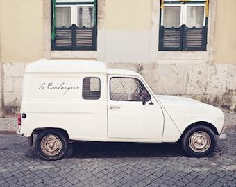 "Vintage white car print, Lisbon travel photography, white cream beige, gray wall art, neutral decor, bakery wall art ""Boulangerie Car"""