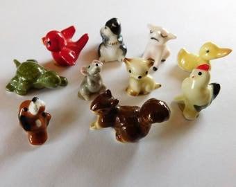 Vintage Baby Animal Miniatures Bone China Bug House Japan Lot of 10