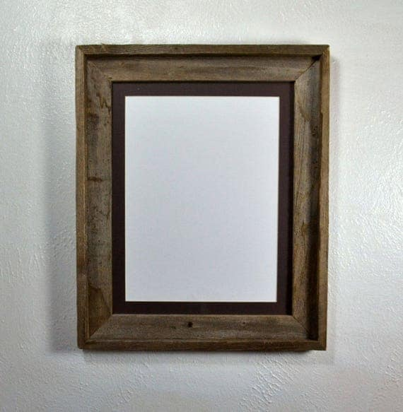 Barn Wood Picture Frame 9 X 12 Charcoal Mat Fits 8x10 8