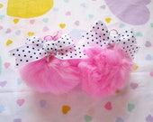 Pom pom earrings, baby pink faux fur white black polka dot bow 90s fairy kei jewelry gifts under 20