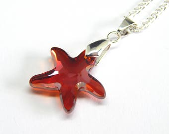 Red Swarovski Starfish Necklace - Red Magma Sea Pendant - Red Orange Crystal Starfish Necklace - Swarovski Elements - Crystal Ocean Pendant