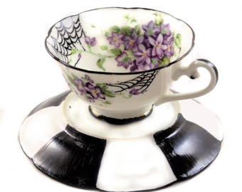 Tea Cup Candle Votive - Antique China - Spiderweb Violets - Tim Burton Inspired - Alice in Wonderland - Tea Lovers Gifts