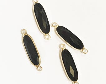 4 pcs Glass faceted oval with  brass setting 27x7mm , Black , glass connector 1/1 loop with  brass setting, long oval connector