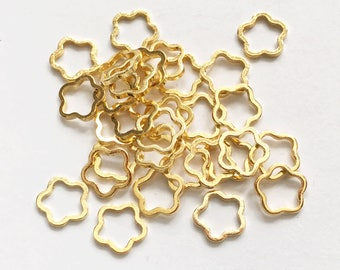 100pcs Gold plated brass  flower rings 8mm, bulk flower rings