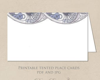 Printable Place Cards - Art Nouveau Floral Design - Gatsby Garden in Purples - DIY Seating Cards - Design only - PDF and JPG