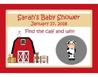 24 Personalized Scratch Off Game Cards - Barnyard Baby Shower - Farm Birthday - Barnyard Birthday Party = Farm Baby Shower - Farm Animals