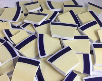 80 Yellow, Blue and White Broken China Mosaic Tiles