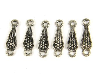 6 Pcs Antique Silver Teardrop Jewelry Connector Links Components