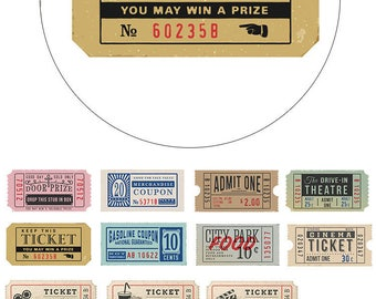 Old Ticket Washi Tape • Vintage Movie Ticket Washi Tape • Admit One Ticket