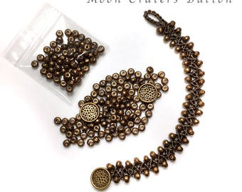 Bracelet Crochet DIY Kit - Turkish Flat Bead Crochet Bracelet with Miyuki Baroque Pearls, C-Lon Bead Cord and Italian Metal Buttons