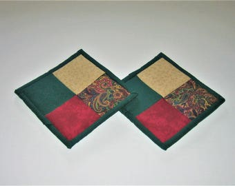 Hot Pads Green Beige Burgundy (Set of 2)