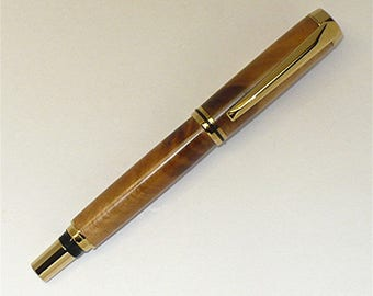 Handmade Wood Pen Lathe Turned Jr. Gent Screw Cap Fountain Pen Cherry Blossom Wood Gold Trim