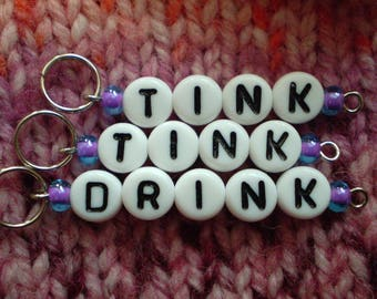Tink, Tink, Drink Stitch Markers - knitting stitch markers, paper and yarn handmade stitchmarkers available in lots of colors and sizes