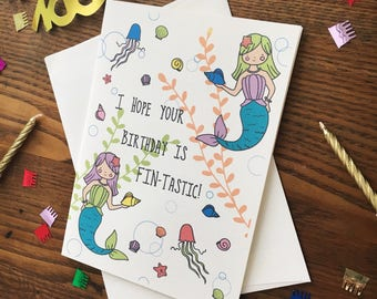 Mermaid Card. Mermaid Birthday Card. Mermaid Pun Card. Pun Lover Card. Punny Card. Card for Friend. Blank Card. Single Card.  Seashell Card