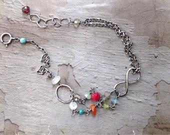 Infinity Bracelet - Friendship Bracelet - Love Bracelet - Multi Stone Bracelet - Oxidized Sterling Silver Chain Bracelet