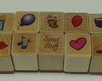 10 Piece Collection Of Random Images Wood Mounted Rubber Stamp Set, Balloon, Music Notes, Heart, Candle, Lips, Cuf Of Coffee, Chili Pepper
