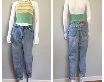 Vintage 1970s knit halter top xsmall crop top