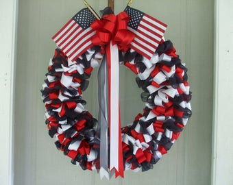Fourth of July Ribbon Wreath Patriotic 26 inch Red White Blue