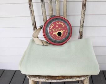 Vintage Basket Weave Wool Blanket, Throw, Mint Green, Satin Binding, Living room Decor, Bedding,Vintage Wool Blanket