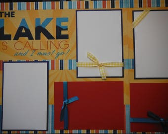 2 The Lake is Calling  12x12 Premade Scrapbook Pages for your family and vacation