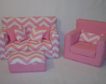 18 Inch Doll Sofa, Chair, Coffee Table   Pink Chevron - Handmade Doll Furniture