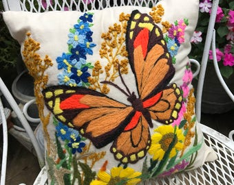 Vintage 1970's Era Crewel Embroidery Butterfly Pillow